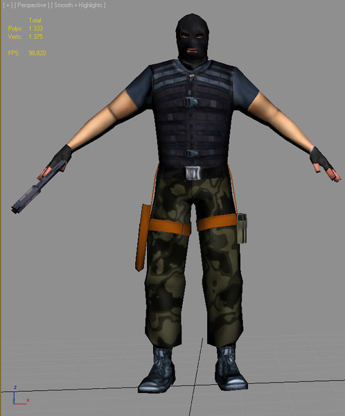 3d lo-poly ready big model - Soldier terrorist lo-poly... by anteyy