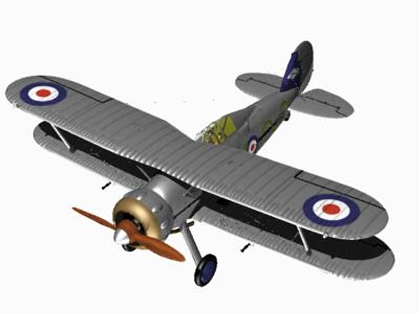 3d model gloster gladiator fighter mk1 - Gloster Gladiator MK1 Cararra Format... by pbratt