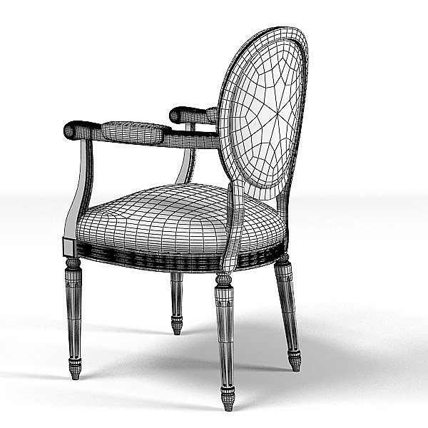 classic dining chair 3d model - classic dining chair round back... by shop3ds