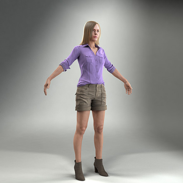 body rigged skin 3d model - CWom0003-HD2-CS... by axyzdesign