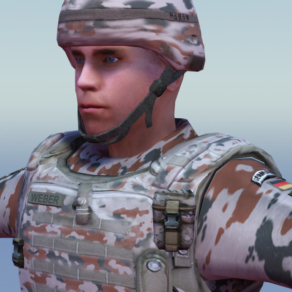 german desert infantry bundeswehr 3ds - Bundeswehr Infantry (Desert)... by ES3DStudios