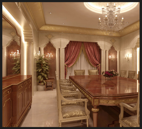 3d classical dining room model - Luxury dining room... by 3D.Art