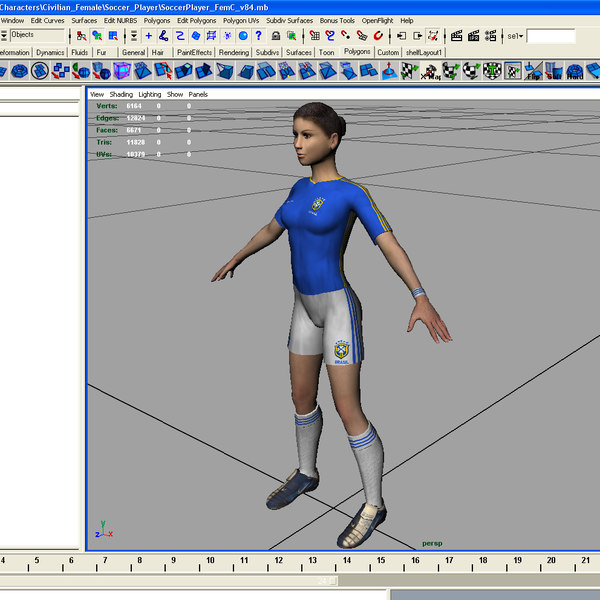 female football player rigged 3d model - Football Rigged Female A... by ES3DStudios