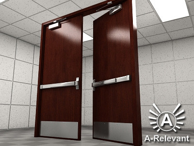 Double Door 1 Wood - RIGGED - detailed double door model - 3ds max2010 3D Models