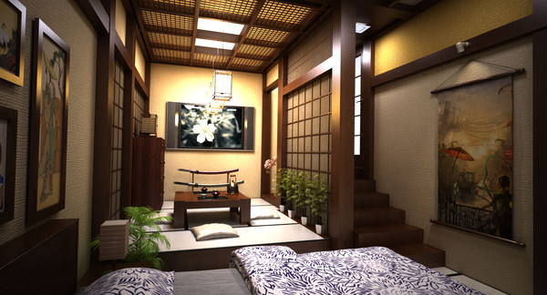 3d scene traditional interior room model - traditional japanese bed room... by Coreindesign