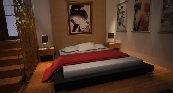 interior design modern japanese 3d model - modern japanese bed room... by Coreindesign