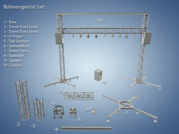 3d model of truss rigging lighting - Truss System... by Polyx
