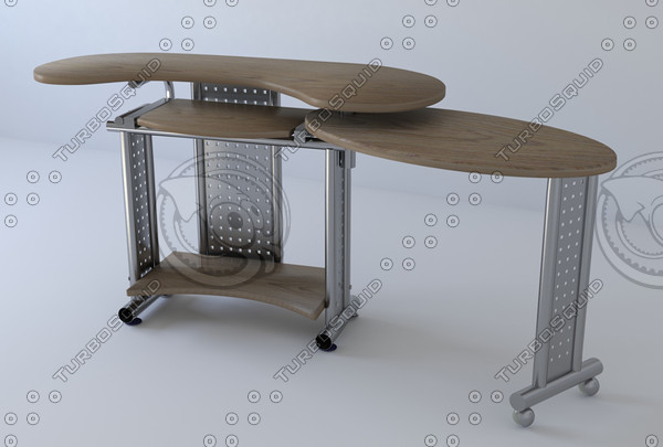 computer table 3d obj - PC-Table... by schanya
