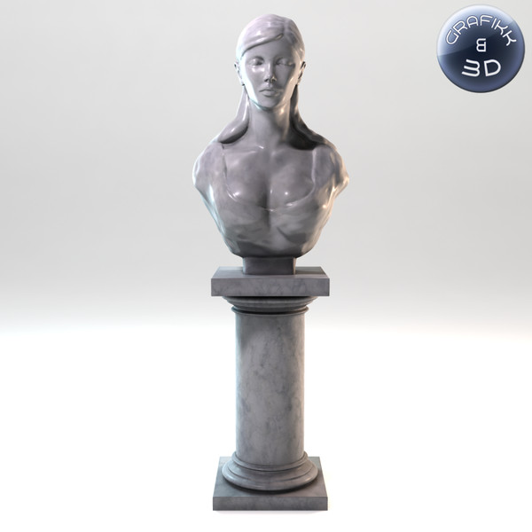 marble sculpture 3d model - Female Marble Bust... by PolyTron