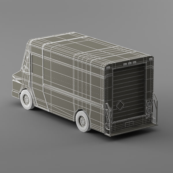 courier delivery truck purolator 3d model - Purolator Courier truck Morgan Olson van... by Leeift