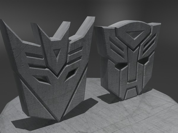 3d model logos scratched metal - AutobotsDecepticons Logo Metal... by christiano247