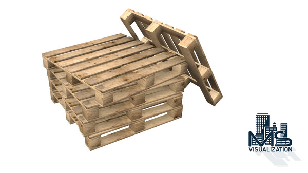 realistic wooden pallet 3d max - Realistic Wooden Pallet... by MS Visualization
