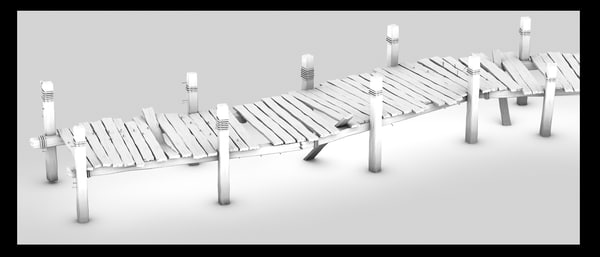 wood wooden pier 3d 3ds - wooden pier... by Litarvan