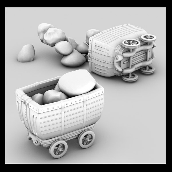 3d metal carts model - mine cart textured... by Litarvan