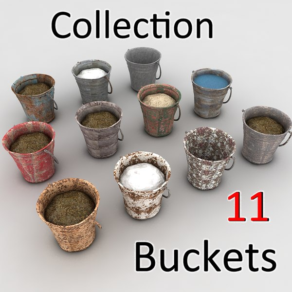 bucket fillings mud 3d model - metal bucket textured... by Litarvan