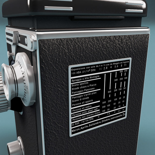 3d model of antique camera rolleiflex tessar - Antique Camera Rolleiflex Tessar... by 3d_molier