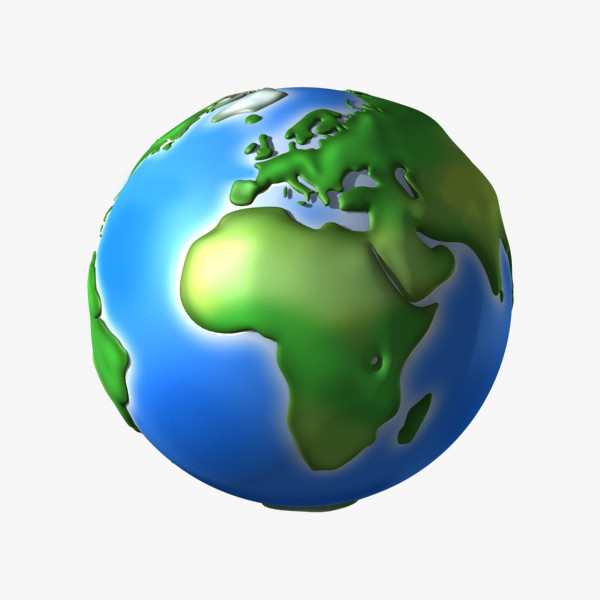 3d model cartoon earth continents - Toon Earth... by Denys Almaral