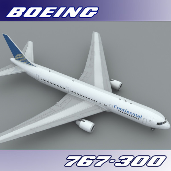 3d model of 767-300 continental airlines - Boeing 767-300 (Continental)... by PerspectX
