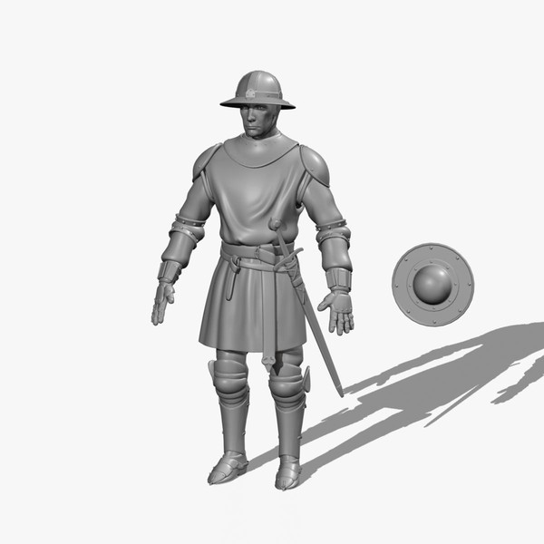 3d foot medieval sword soldiers model - Medieval Foot Soldier Infantry... by fishzombie