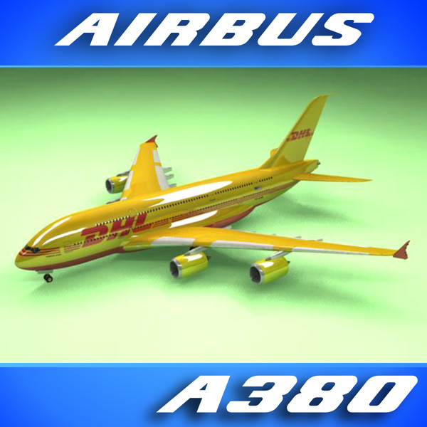 airbus a380 dhl airliner 3d 3ds - Airbus A380 Airliner (DHL)... by PerspectX