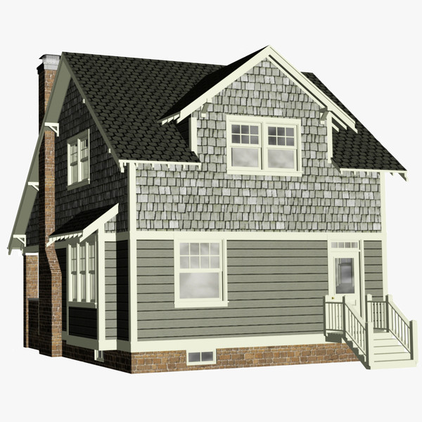 3d craftsman bungalow home house - Craftsman Bungalow... by chaosfractal