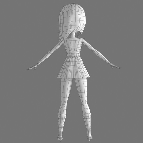 animation hair dress 3d model - Cartoon Woman 02 Orange Girl... by Denys Almaral