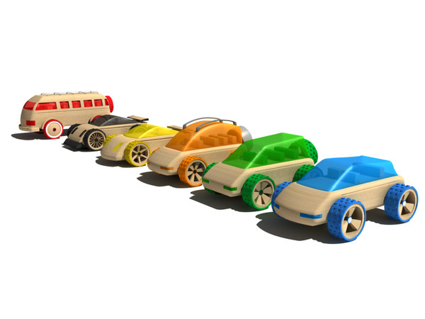 toy car 3d model - Wooden toy car coollection... by gile.073