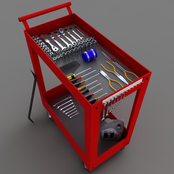 utility cart tools 3d max - Utility Cart... by redline_or_nothing
