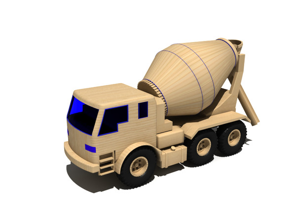 maya toy truck - Concrete mixer truck wooden toy... by gile.073