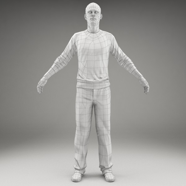 character human 3d model - CMan0005-M3-CS... by axyzdesign