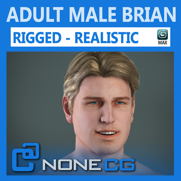 realistic male character rigged max - Adult Male Brian Nude Rigged... by NONECG