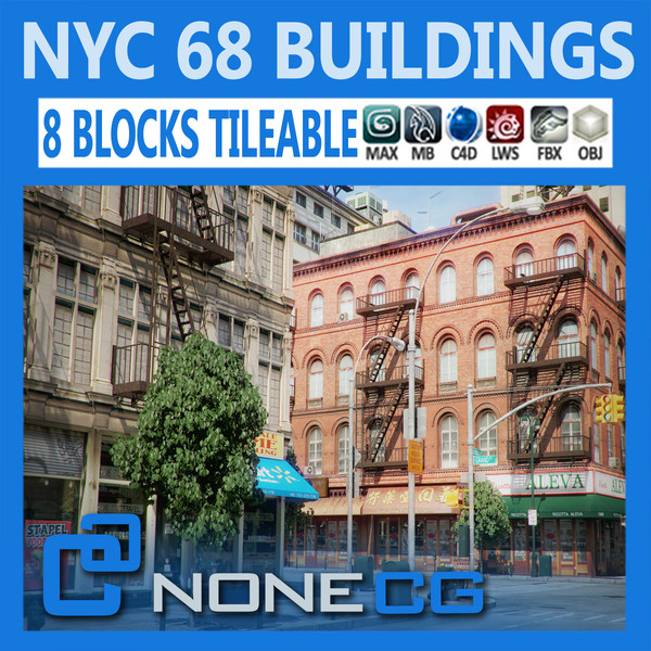 NYC - 8 Blocks - 68 Buildings 3D Models