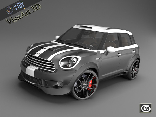 3d materials car - Mini Cooper Countryman custom concept... by VisuArt3D