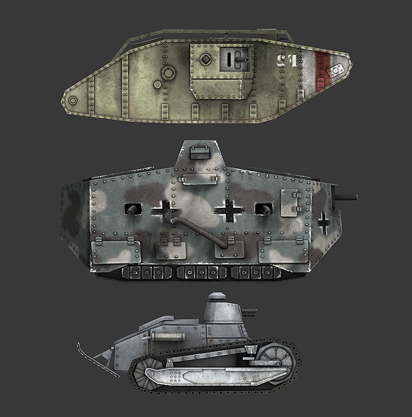 world war tank treads 3d model - World War I Tank Pack... by Hobgob