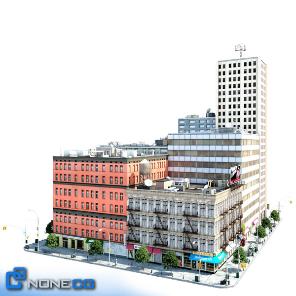 new york city block 3d model - NYC Block Set 7... by NONECG
