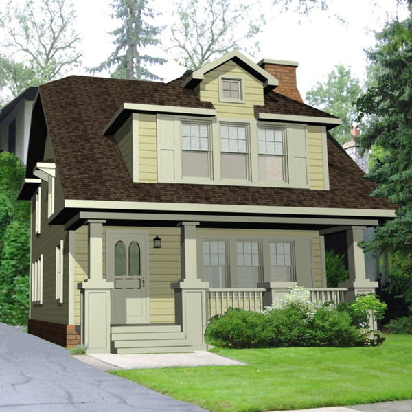 3ds exterior craftman house - House Craftsman Narrow Lot... by chaosfractal