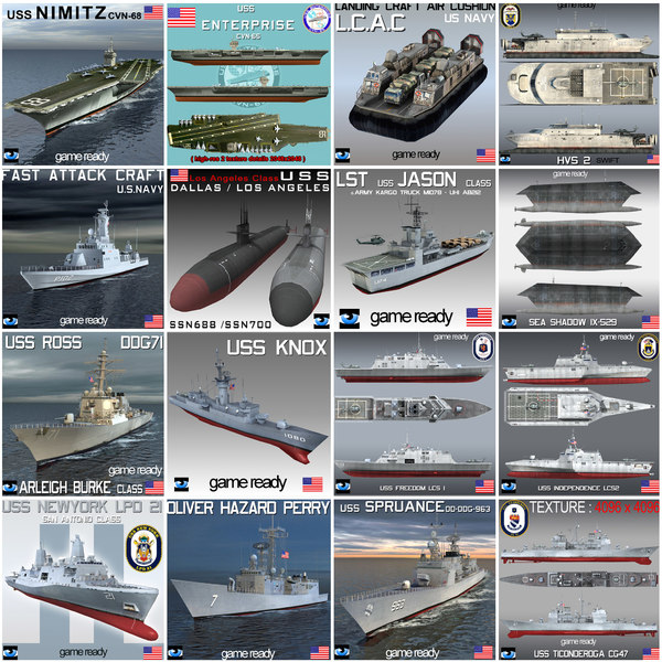 USS NAVY Collection 17 War Ship 3D Models
