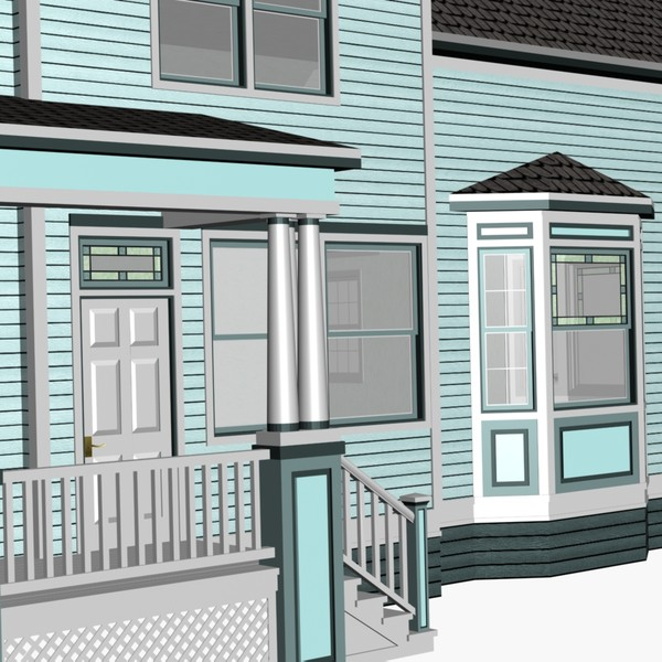 3d model of blue victorian house - Blue Victorian House... by chaosfractal