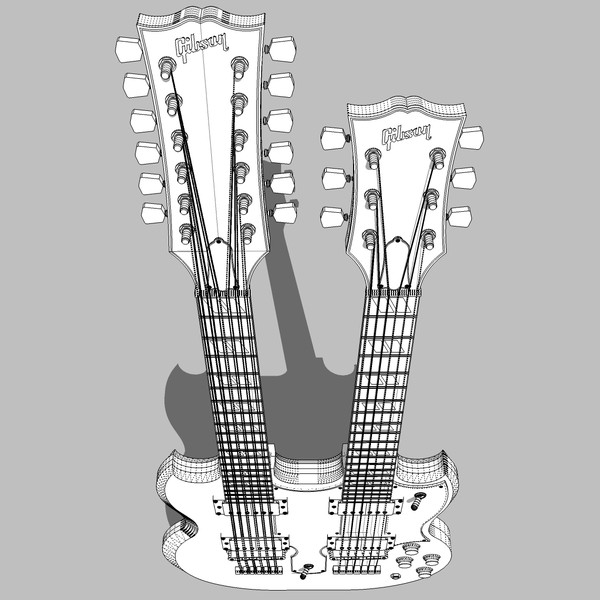 3d model guitar gibson double - Gibson Double Neck Guitar: C4D Format... by phantomliving