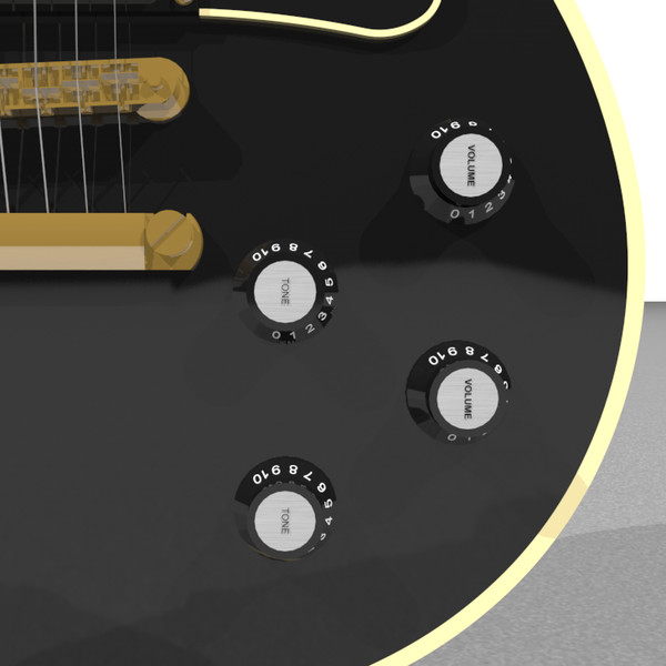 guitar gibson les 3d model - Gibson Les Paul Guitar: Black Beauty: C4D Format... by phantomliving