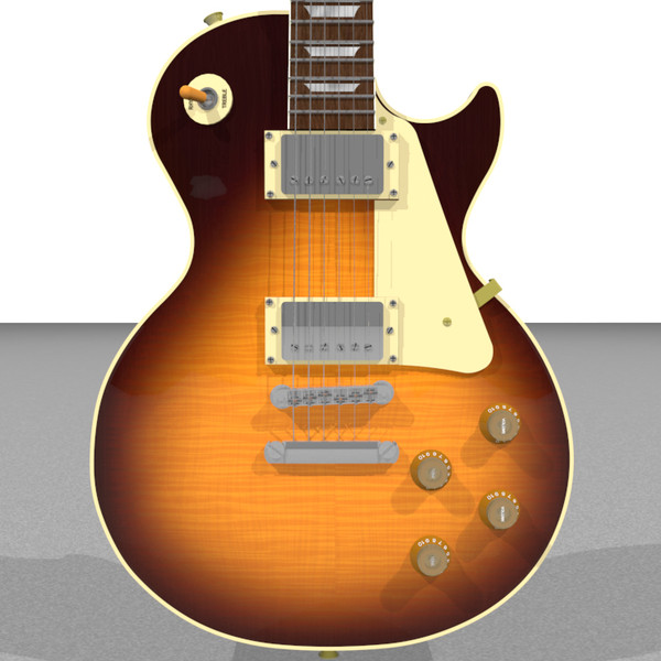 3d guitar gibson les model - Gibson Les Paul Guitar: Tobacco Sunburst: C4D Format... by phantomliving