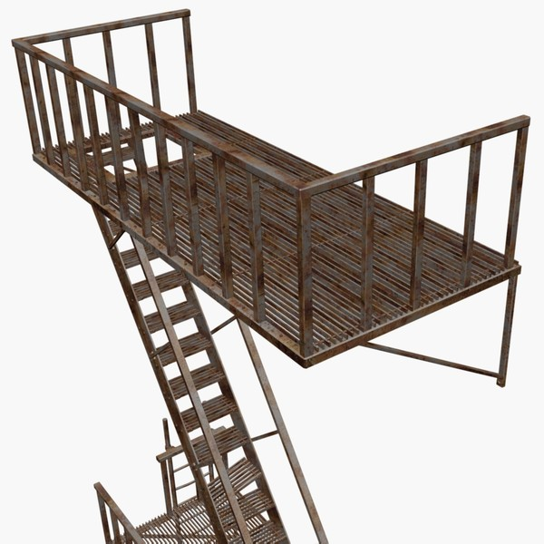 3d rusty escape - Rusty Fire Escape... by chaosfractal