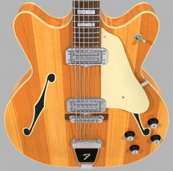 3d model guitar fender coronado - Fender Coronado Guitar: Stripes Finish: Max Format... by phantomliving