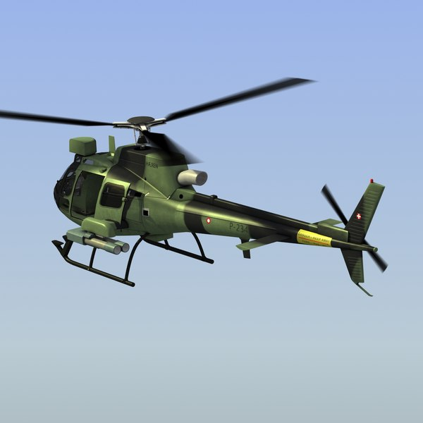 3d model as550 c2 fennec helicopter - AS550 Fennec C2 LW... by ES3DStudios