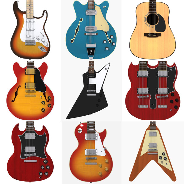 Huge Guitar Collection! 3D Models