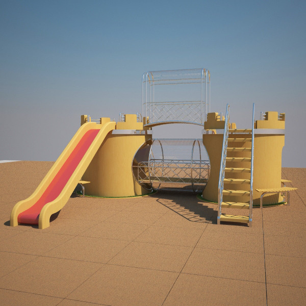 3d model playground castle - Castle - Playground... by volkansenturk