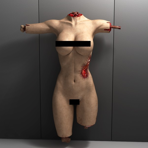 mutilated female corpse 3d model - Mutilated Corpse Body Female... by scyrus