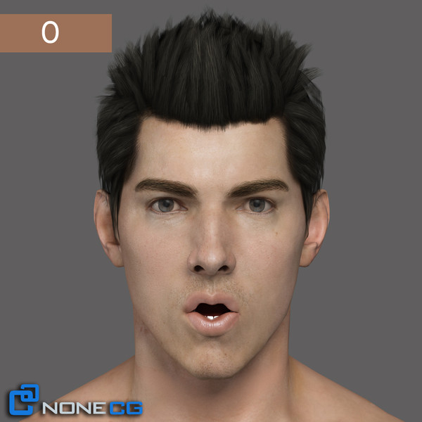 max realistic male head rigged - Adult Male Head Rigged... by NONECG
