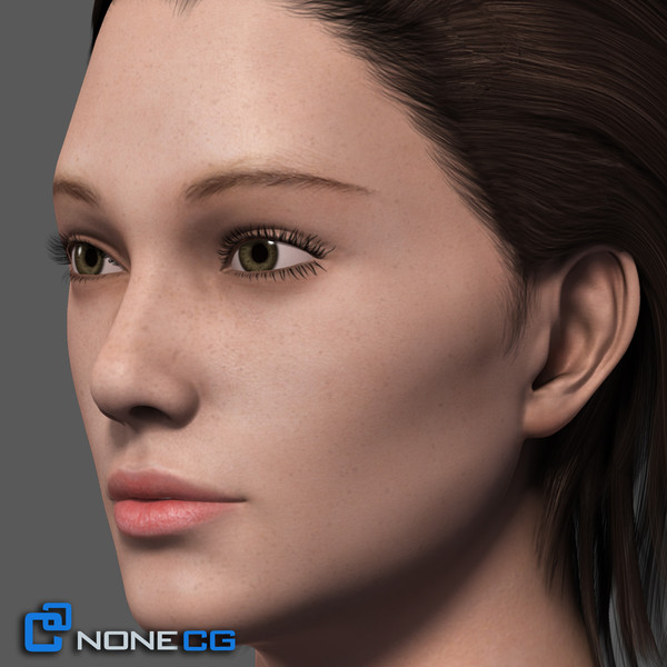 realistic female head rigged 3d max - Adult Female Head Rigged... by NONECG