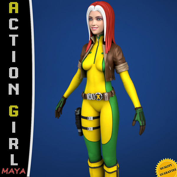 3d model comic cartoon action morph targets - Maya - Action Girl + Morph Targets... by Bitmapworld